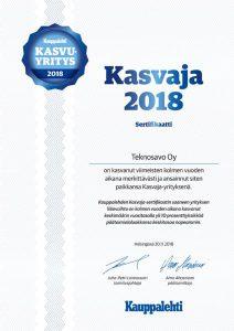 Kasvaja 2018 sertifikaatti