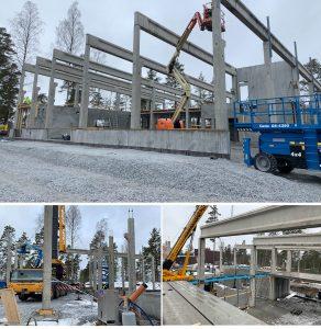 teknosavon rakennustyömaa edistyy